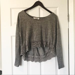 Abercrombie & Fitch Grey Lace Top Extra Small